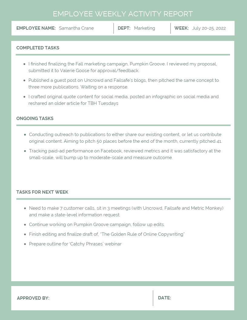 Employee Weekly Activity Report within Marketing Weekly Report Template