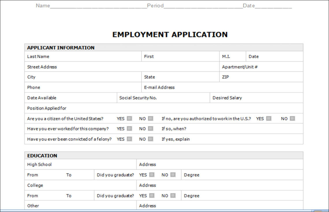 Employment Application Template Microsoft Word With Regard To Employment Application Template Microsoft Word