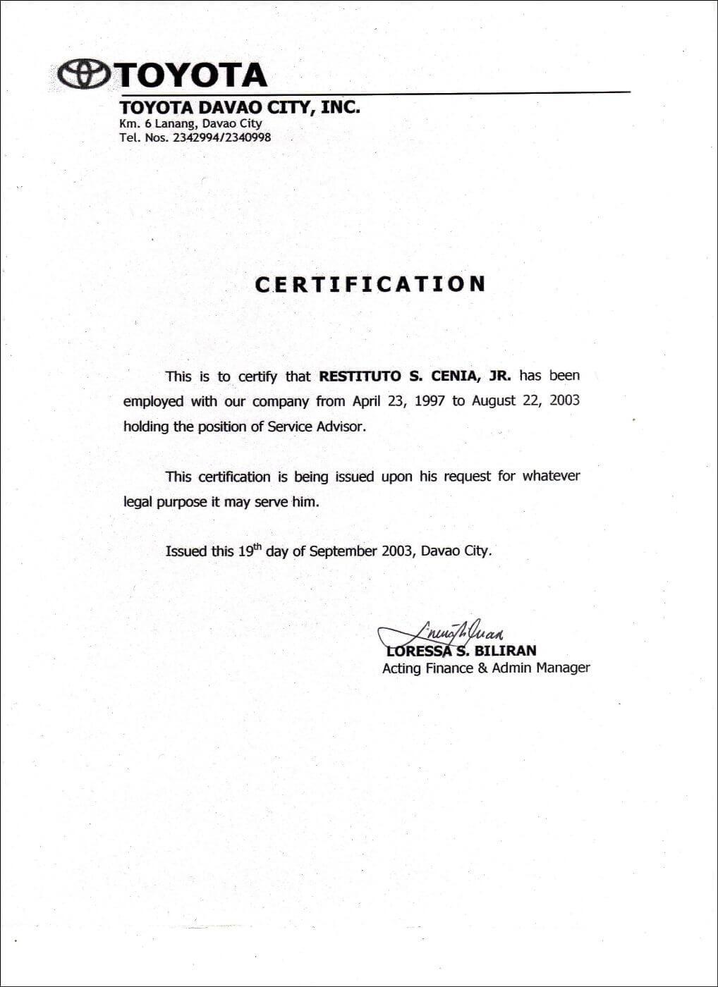 Employment Certificate Sample Best Templates Pinterest Intended For Template Of Certificate Of Employment
