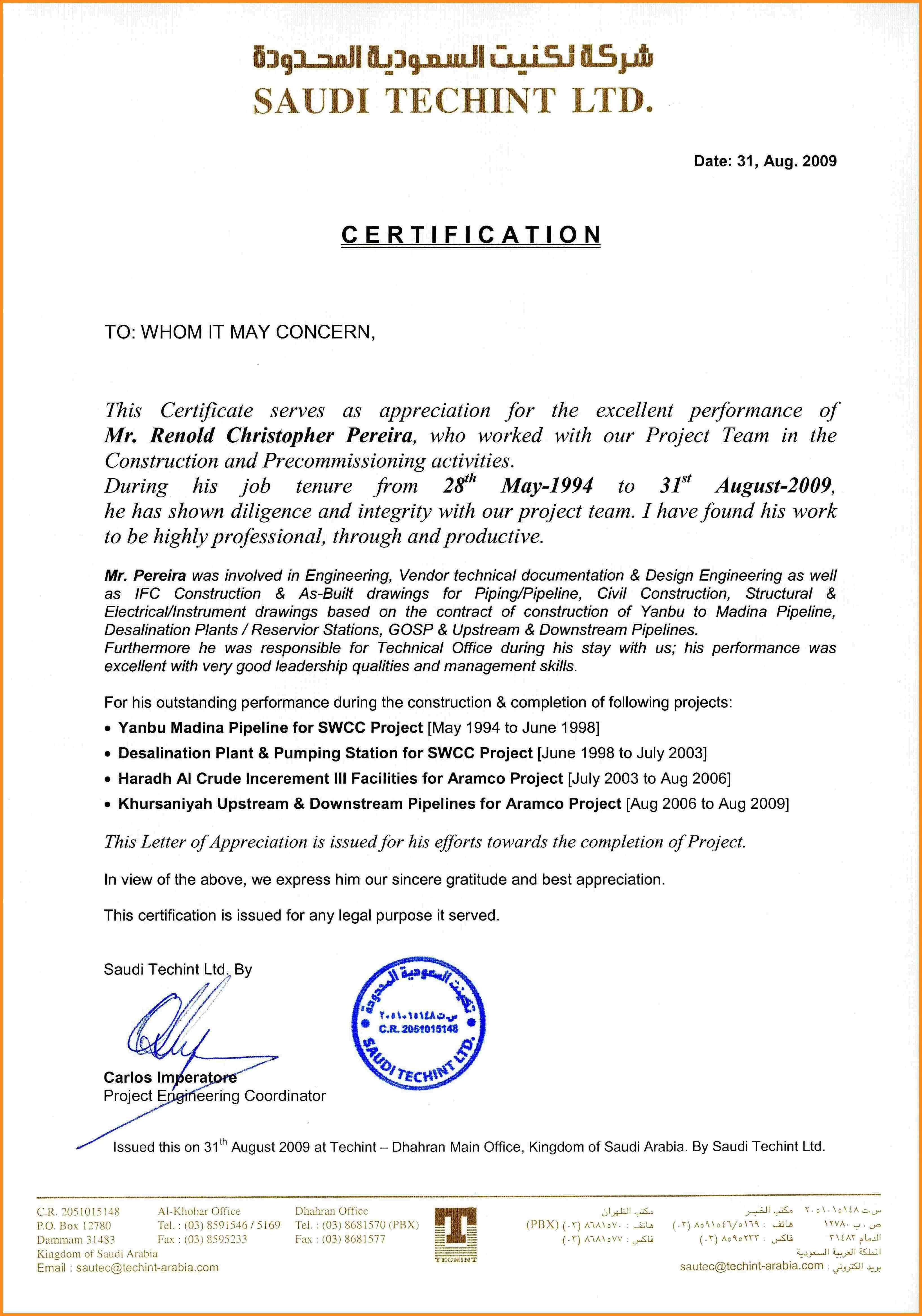Employment Certificate Template Visa New Experience Letter intended for Certificate Of Service Template Free