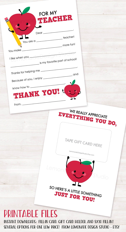 End Of Year Teacher Gift Card Holder Teacher Appreciation throughout Thank You Card For Teacher Template