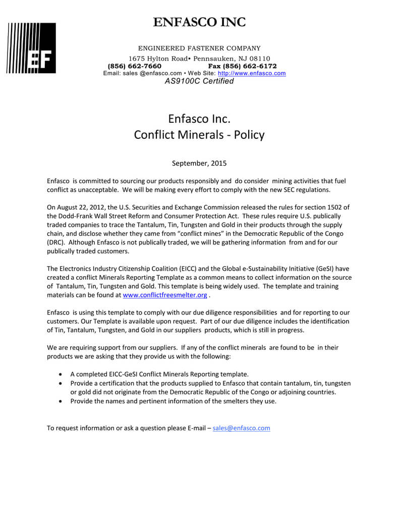 Enfasco Inc Enfasco Inc. Conflict Minerals - Policy pertaining to Eicc Conflict Minerals Reporting Template