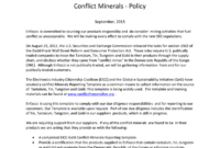 Enfasco Inc Enfasco Inc. Conflict Minerals – Policy regarding Conflict Minerals Reporting Template