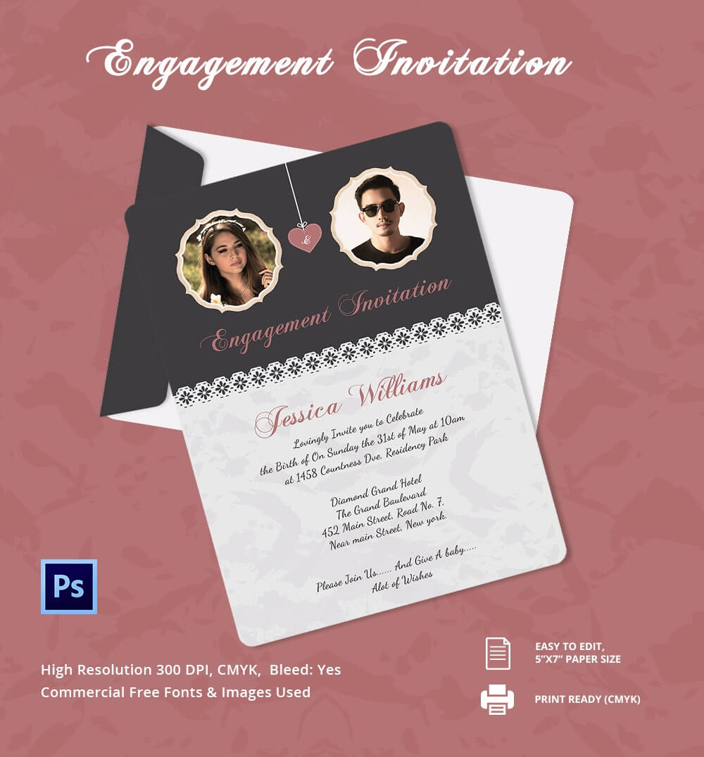 Engagement Invitation Cards Templates - Party Invitation regarding Engagement Invitation Card Template