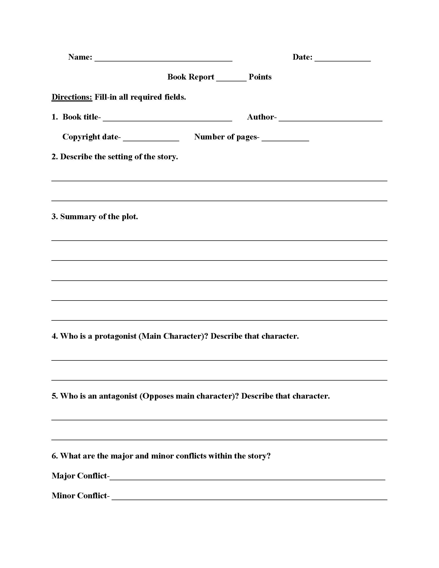 Englishlinx | Book Report Worksheets For 4Th Grade Book Report Template