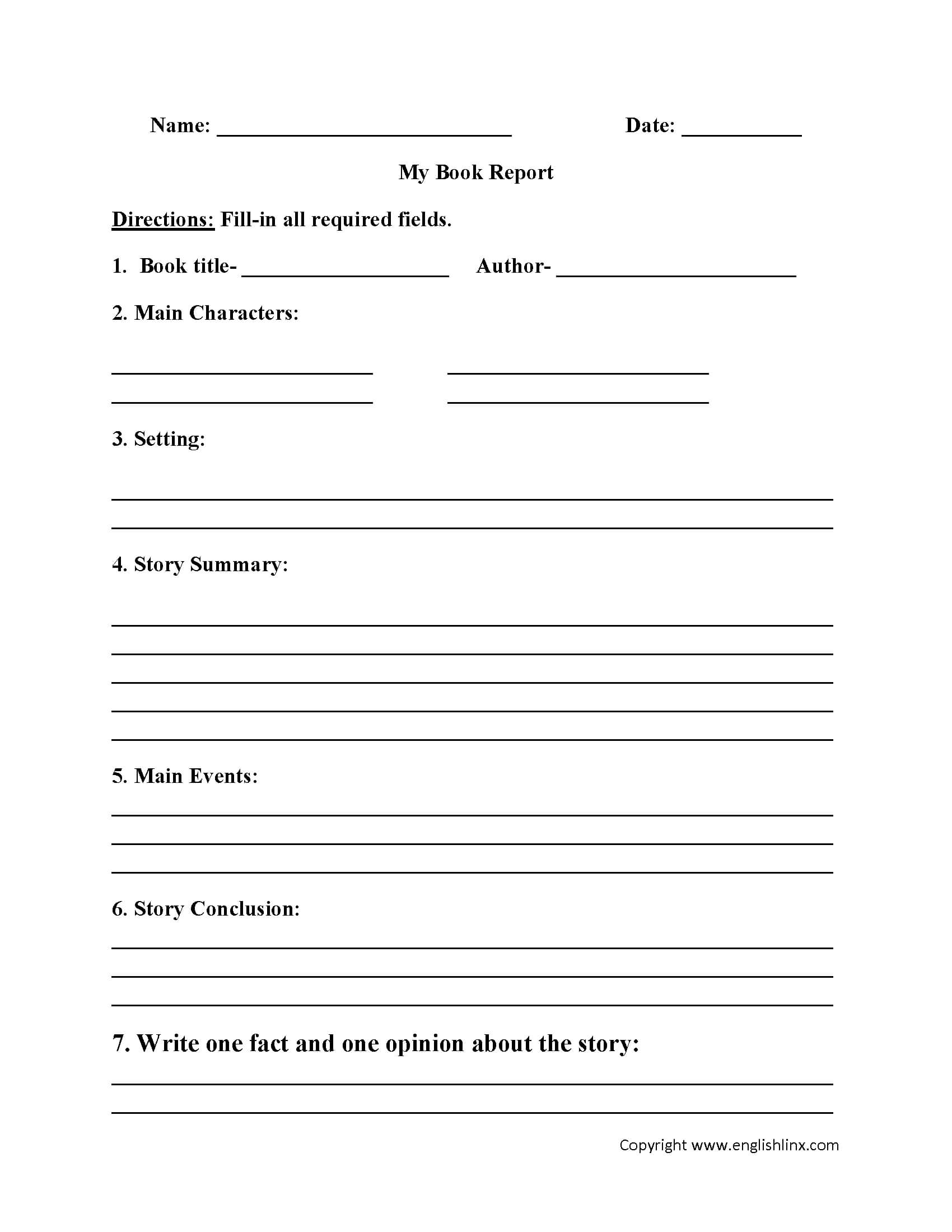 Englishlinx   Book Report Worksheets With Book Report Template 5Th Grade