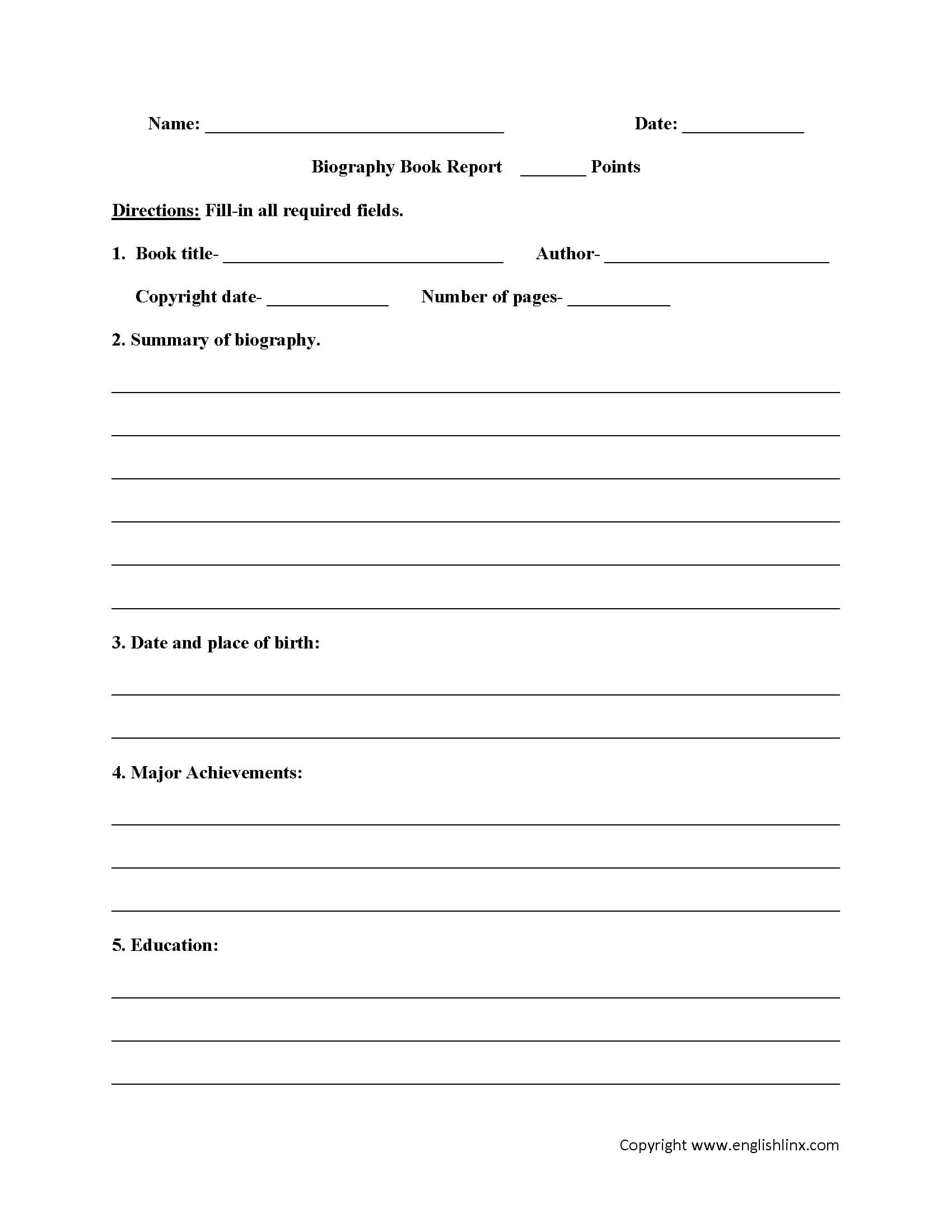 Englishlinx | Book Report Worksheets within Book Report Template 4Th Grade
