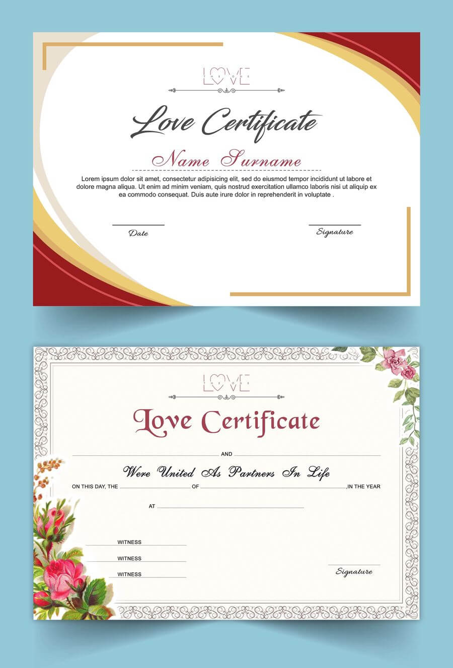 Entry #15Satishandsurabhi For Design A Love Certificate with Love Certificate Templates