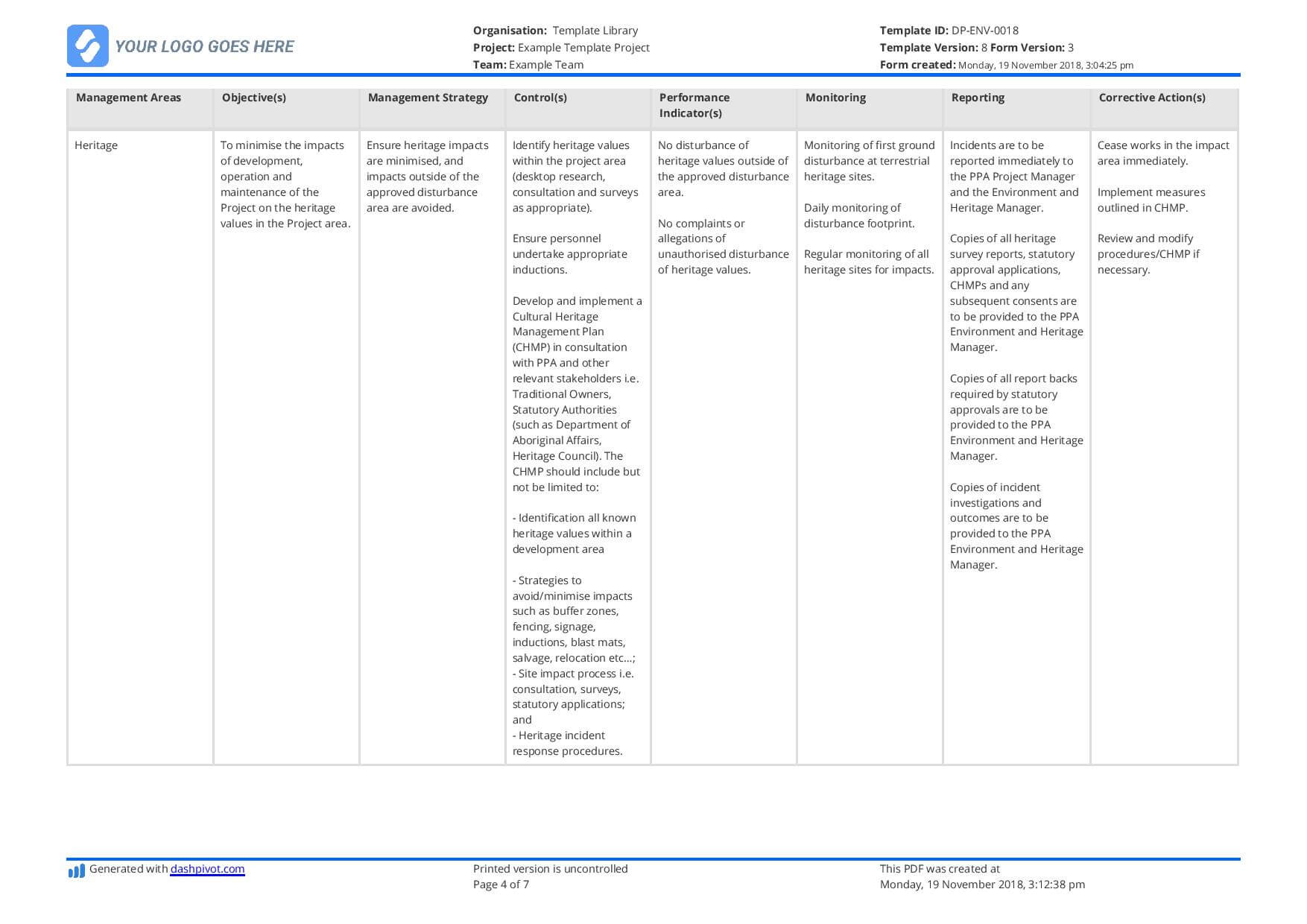 Environmental Management Plan Template (For Construction intended for Environmental Impact Report Template