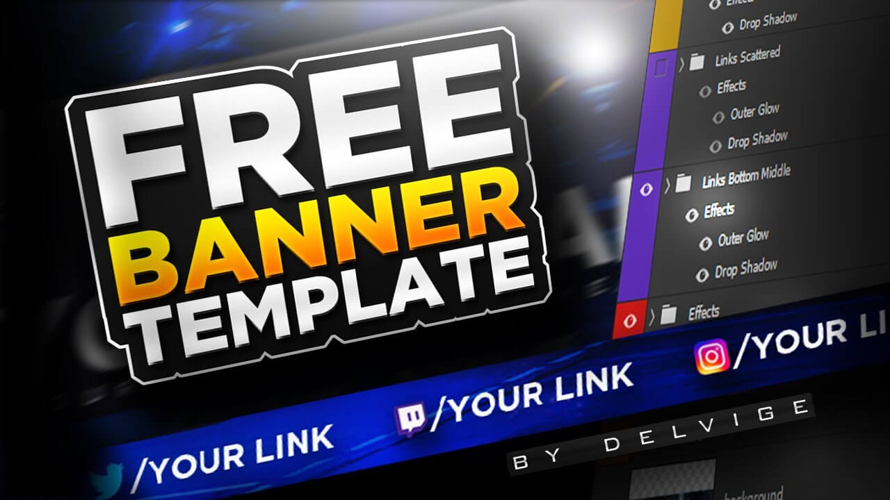 Epic Free Youtube Banner Template – Photoshop Cc/cs6 2017! Psd Download Regarding Adobe Photoshop Banner Templates