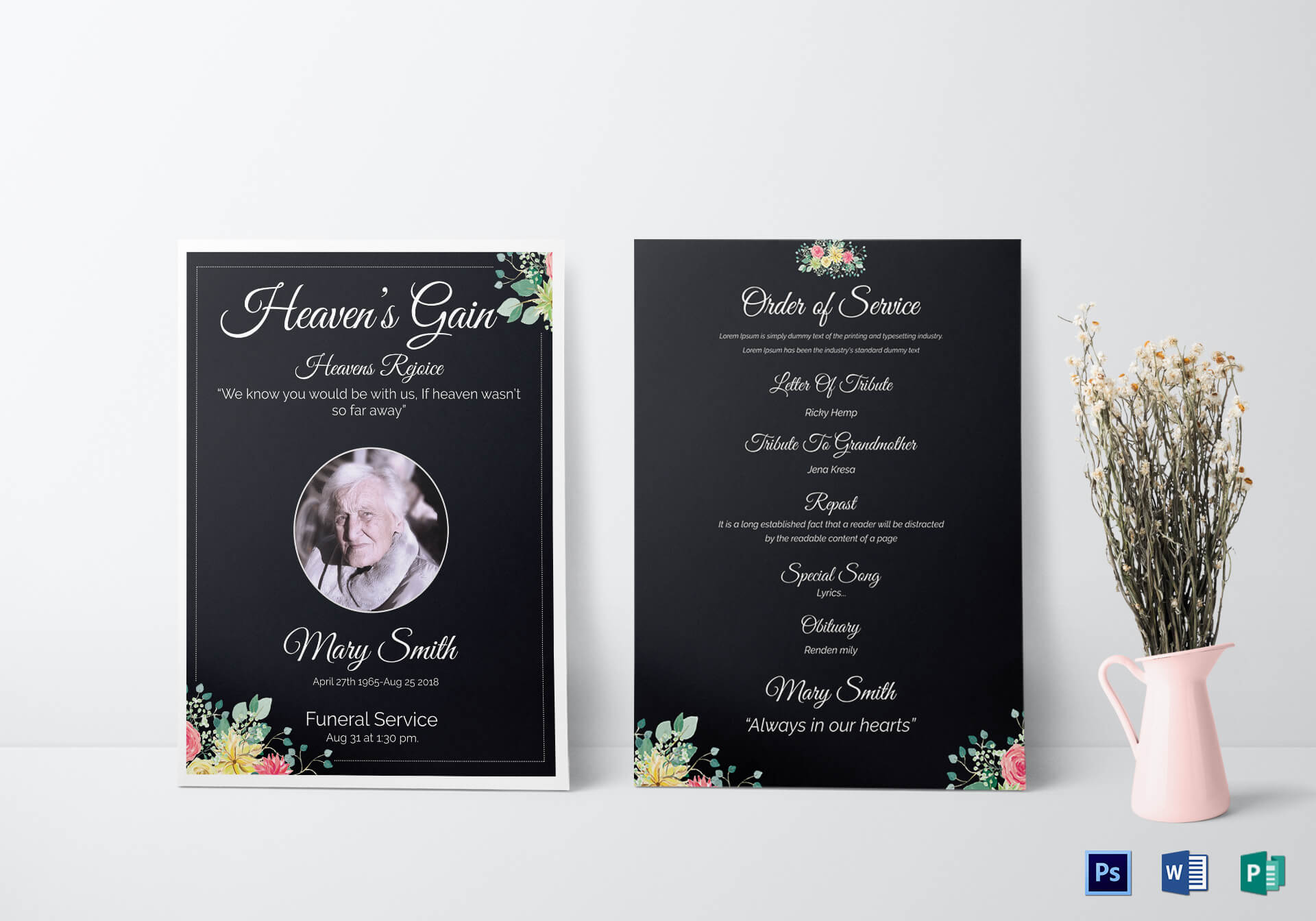 Eulogy Funeral Invitation Card Template pertaining to Funeral Invitation Card Template