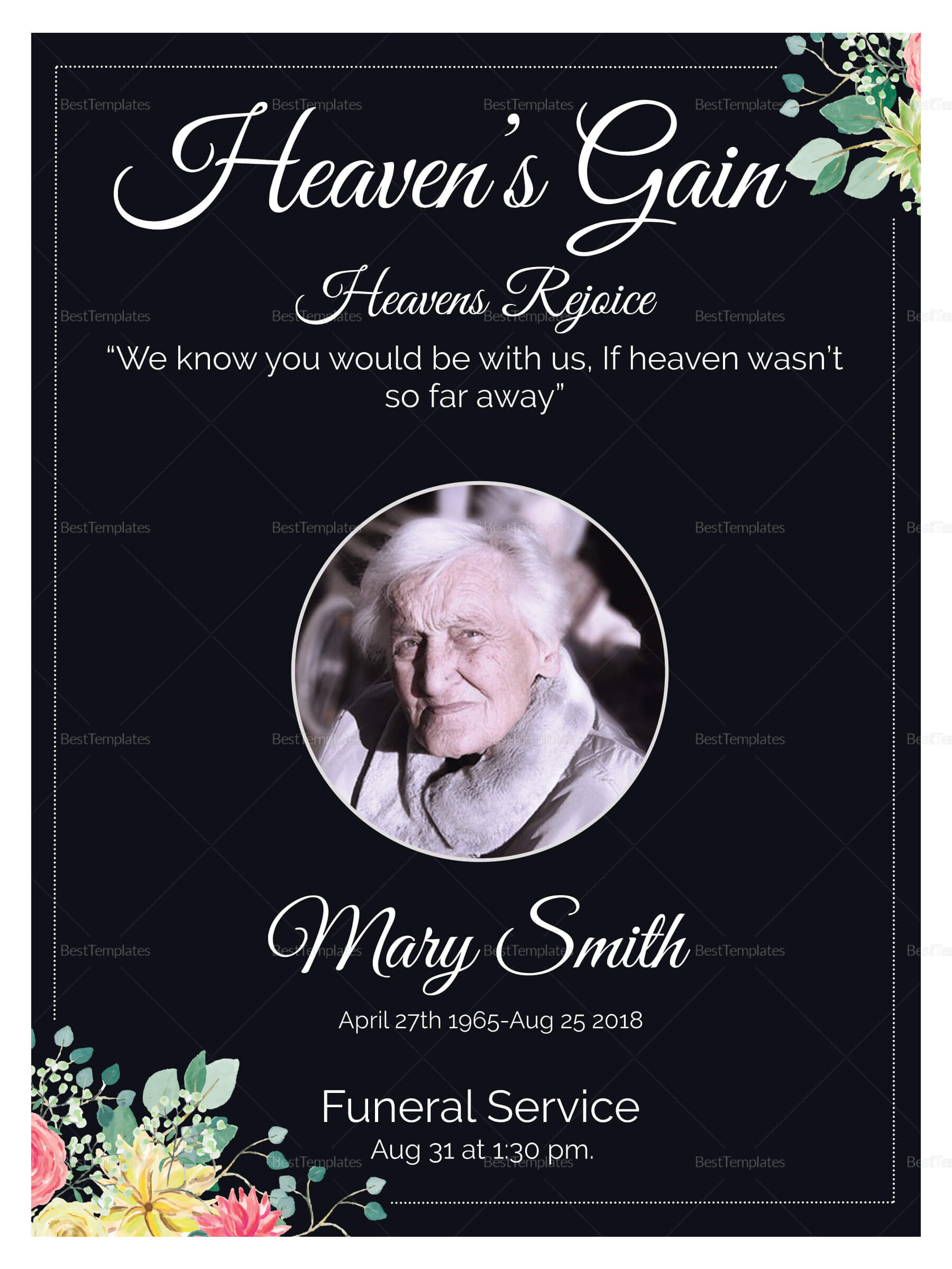 Eulogy Funeral Invitation Card Template throughout Funeral Invitation Card Template