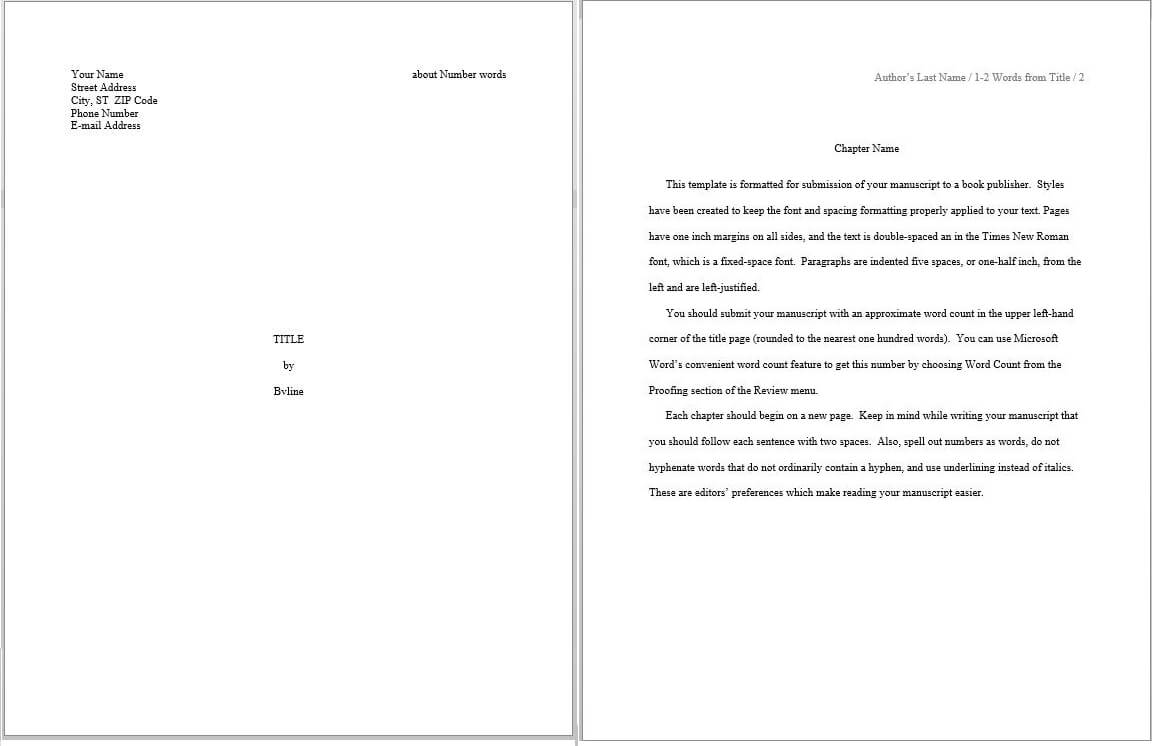 Evaluating Predefined Manuscript Templates In Word – S. K. pertaining to How To Create A Book Template In Word