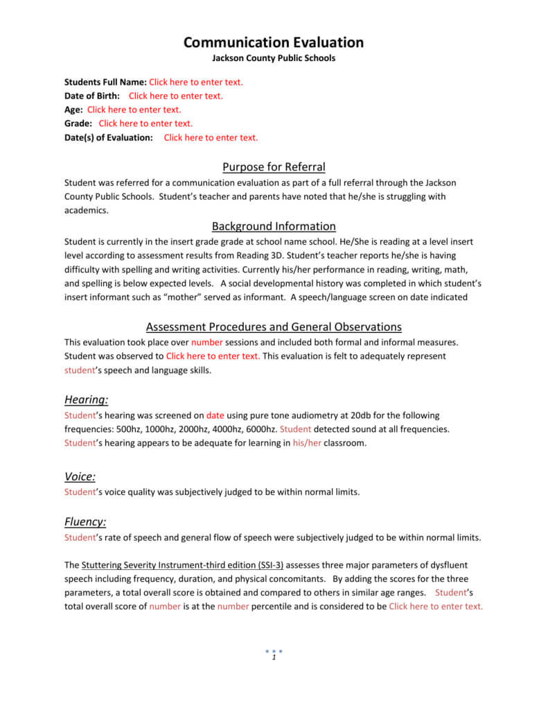 Evaluation Template 4 with regard to Speech And Language Report Template