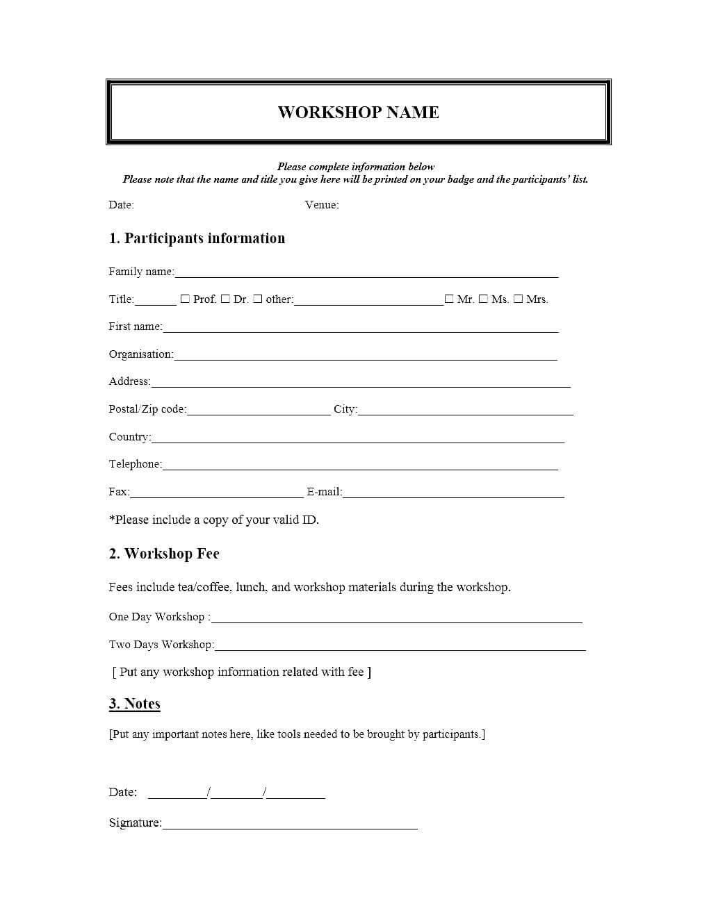 Event Registration Form Template Microsoft Word In Seminar Registration Form Template Word