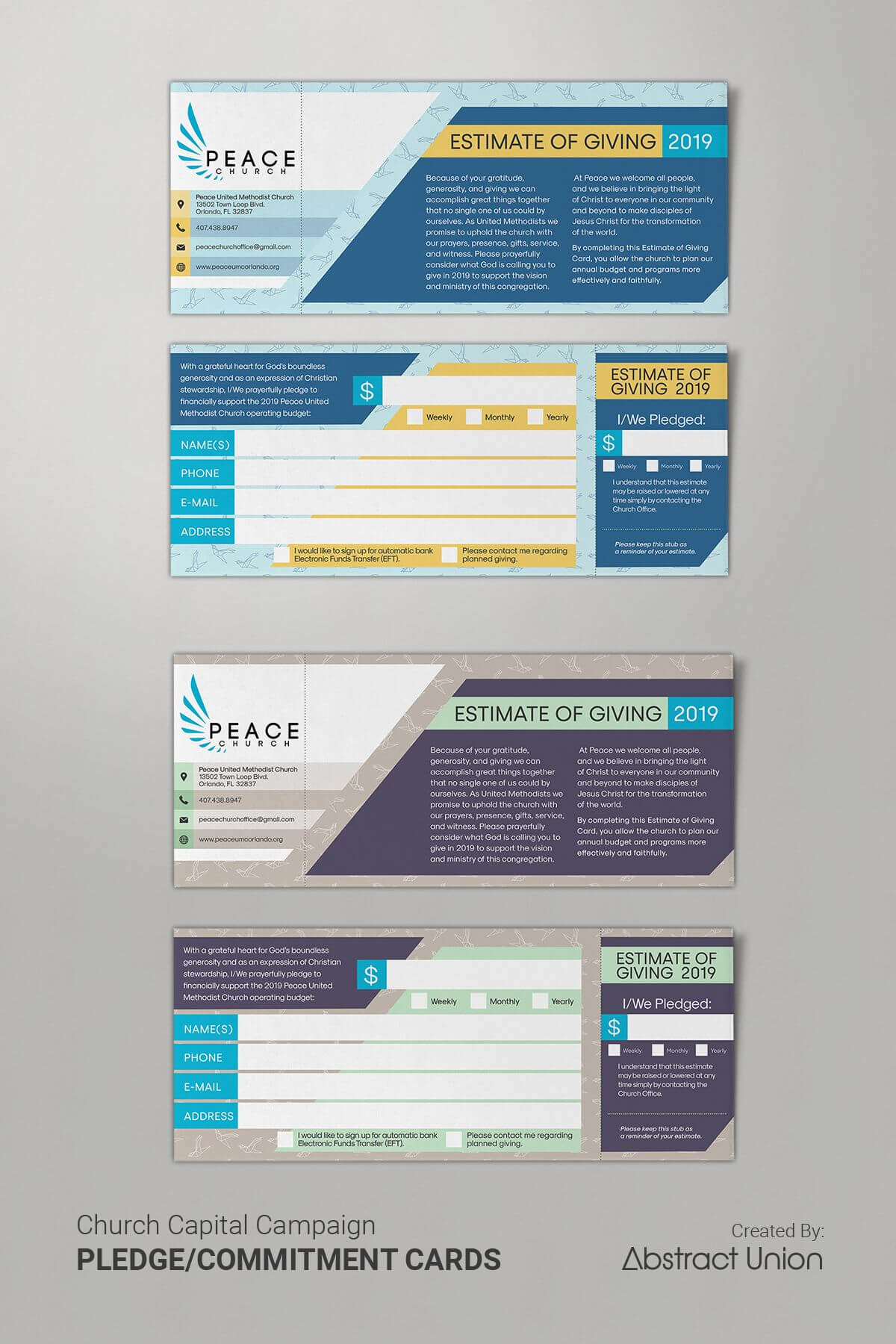 Example Of A Clean And Modern Pledge Card Layout We Designed regarding Fundraising Pledge Card Template