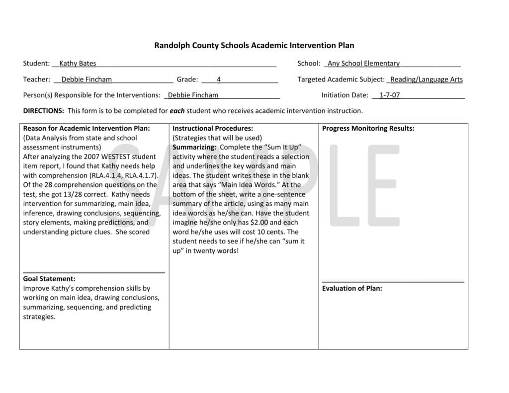Example Of Academic Intervention Plan For Grades 3-5 in Intervention Report Template