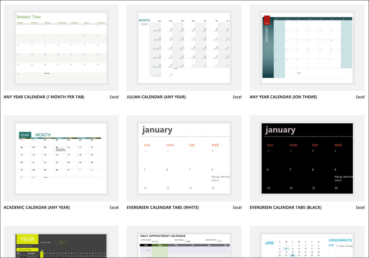 Excel Calendar Templates - Excel with Personal Word Wall Template