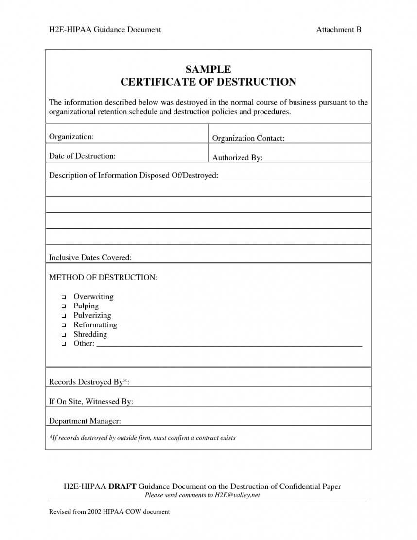 Exceptional Certificate Of Destruction Template Ideas Data with Certificate Of Destruction Template