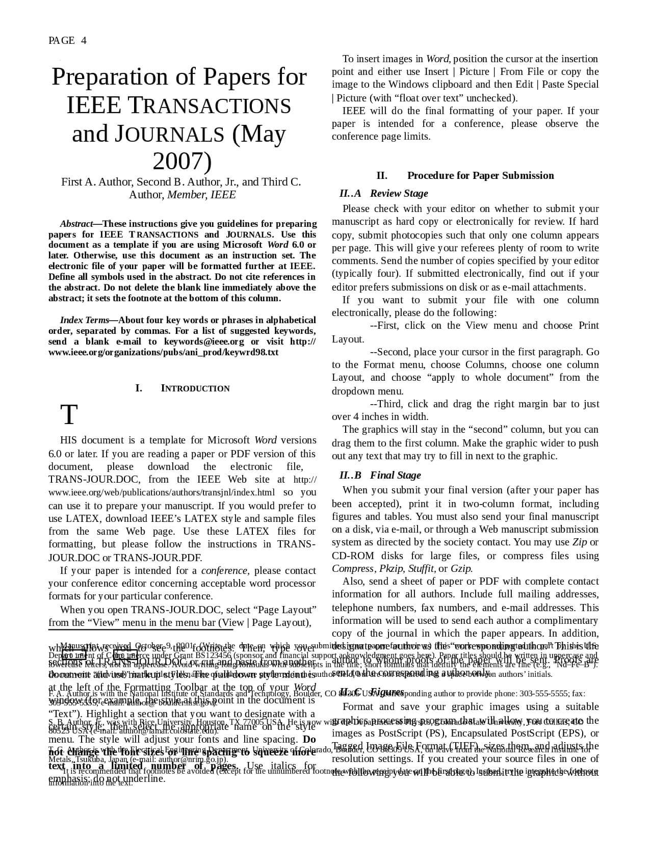 Exemplo De Artigo Ieee - Docsity intended for Ieee Template Word 2007