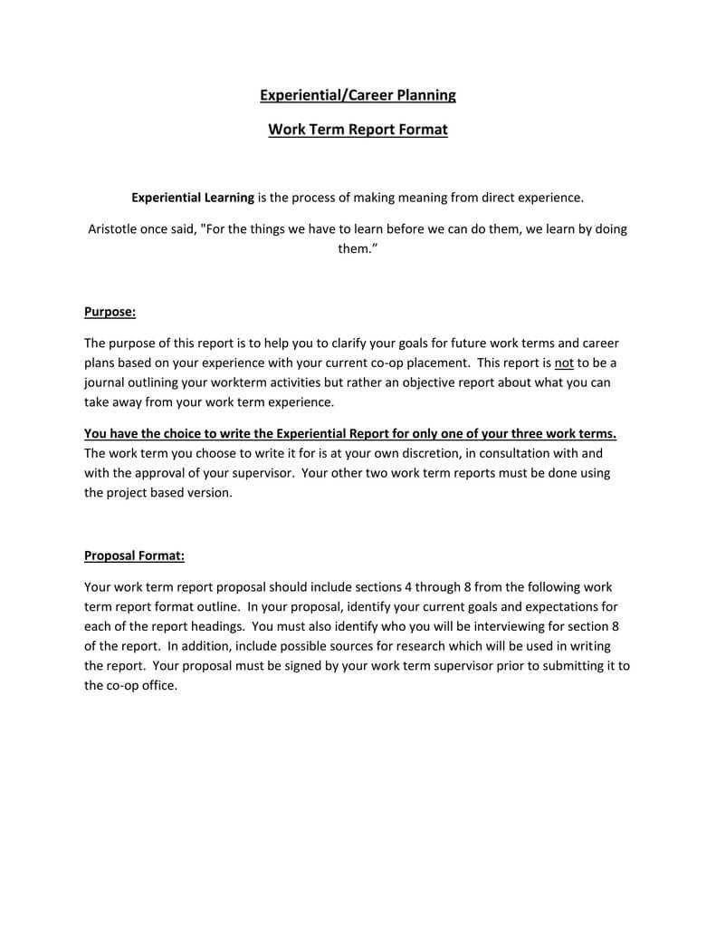 Experiential/career Planning Work Term Report Format within How To Write A Work Report Template