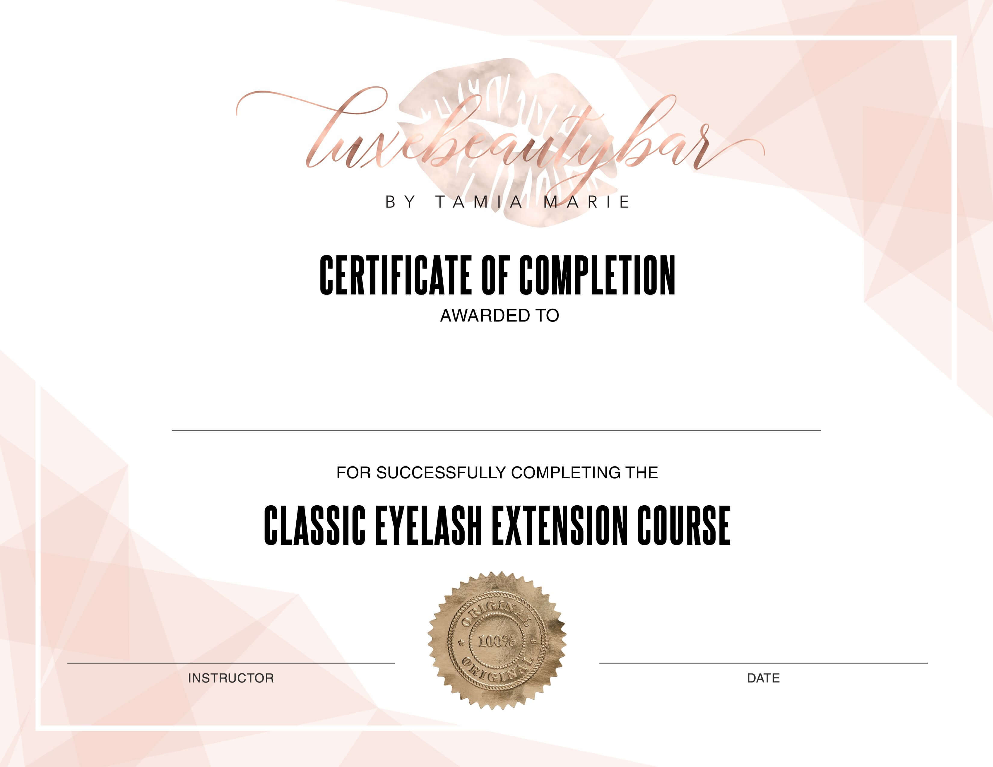 Eyelash Extension Certificate - Editable Template within Walking Certificate Templates