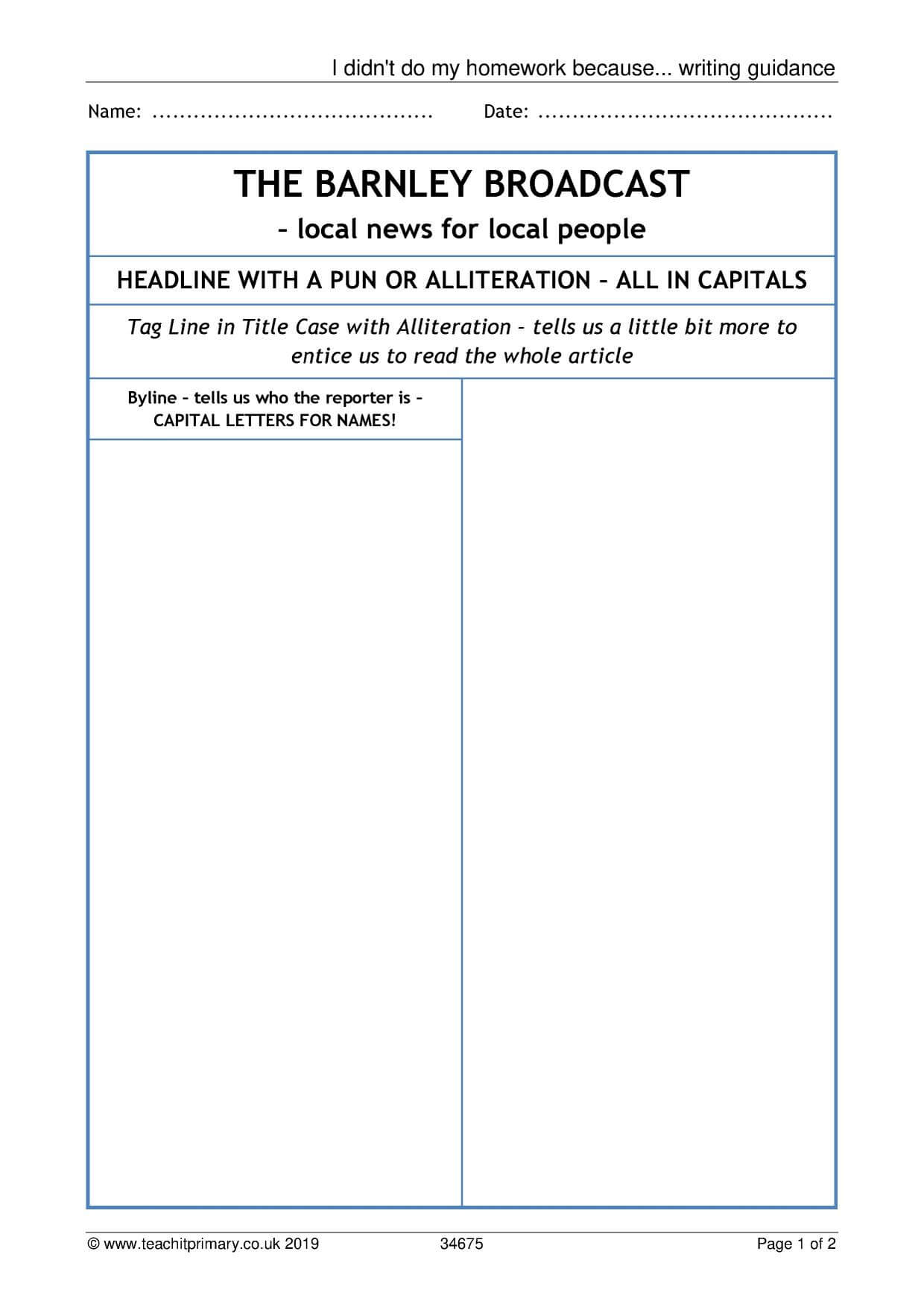 Eyfs | Ks1 | Ks2 | Newspapers | Teachit Primary For Report Writing Template Ks1
