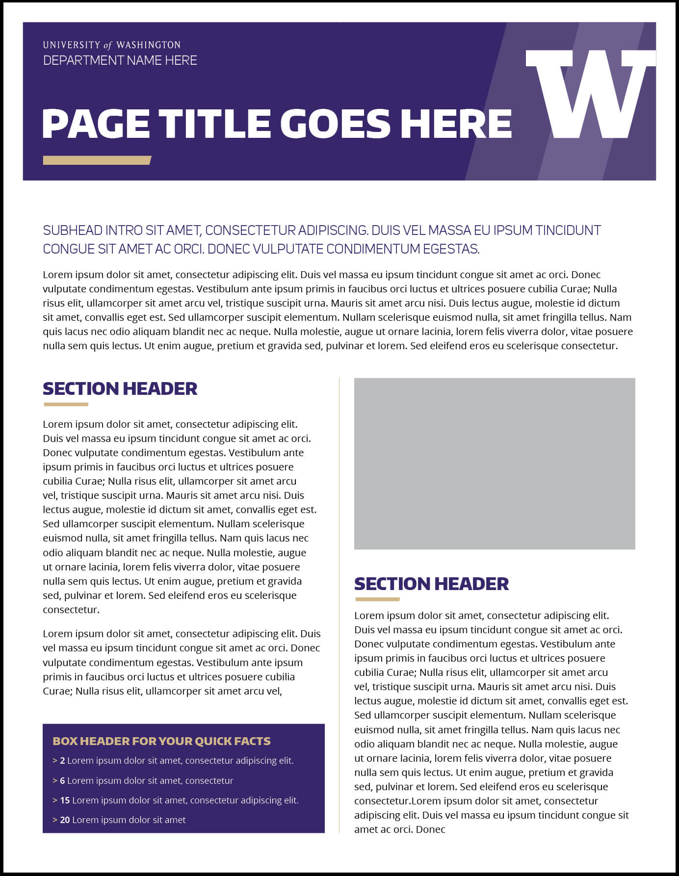Fact Sheet | Uw Brand Intended For Fact Sheet Template Word
