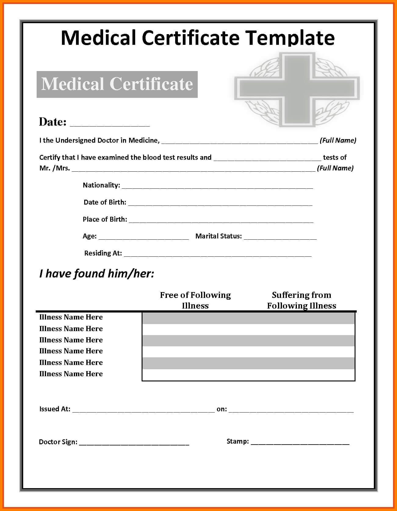 Fake Medical Certificate Template Download Within Fake Medical Certificate Template Download