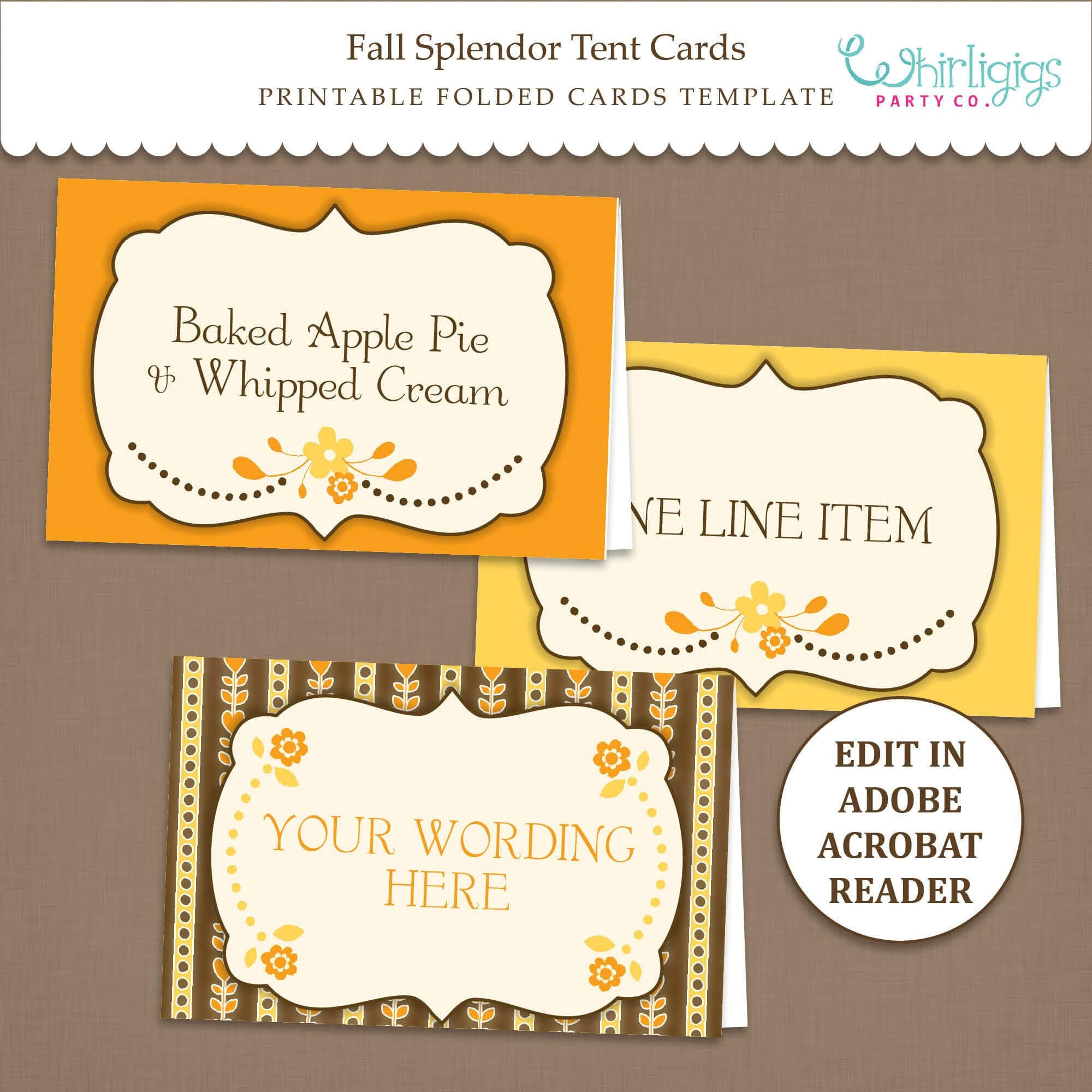 Fall Tent Card Template - Thanksgiving Placecards - Editable - Printable -  Pdf File - Fall Splendor - with Thanksgiving Place Cards Template