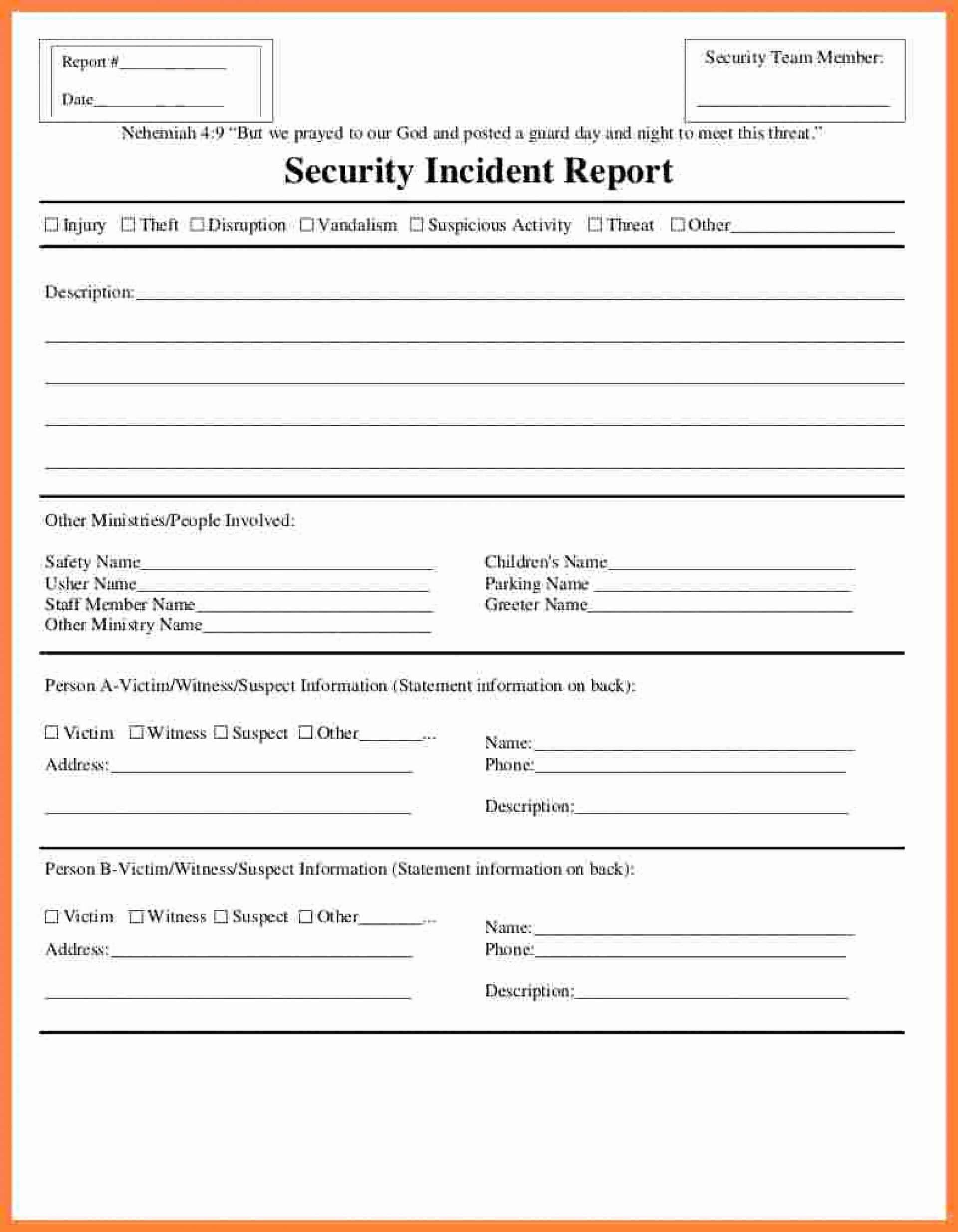 Fantastic Generic Incident Report Template Ideas Form Pdf With Regard To Incident Report Template Microsoft