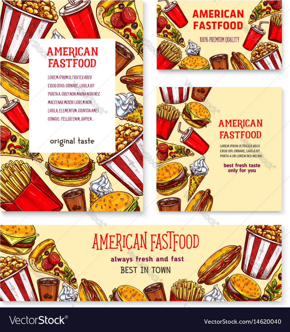 Fast Food American Restaurant Banner Template Set Throughout Food Banner Template