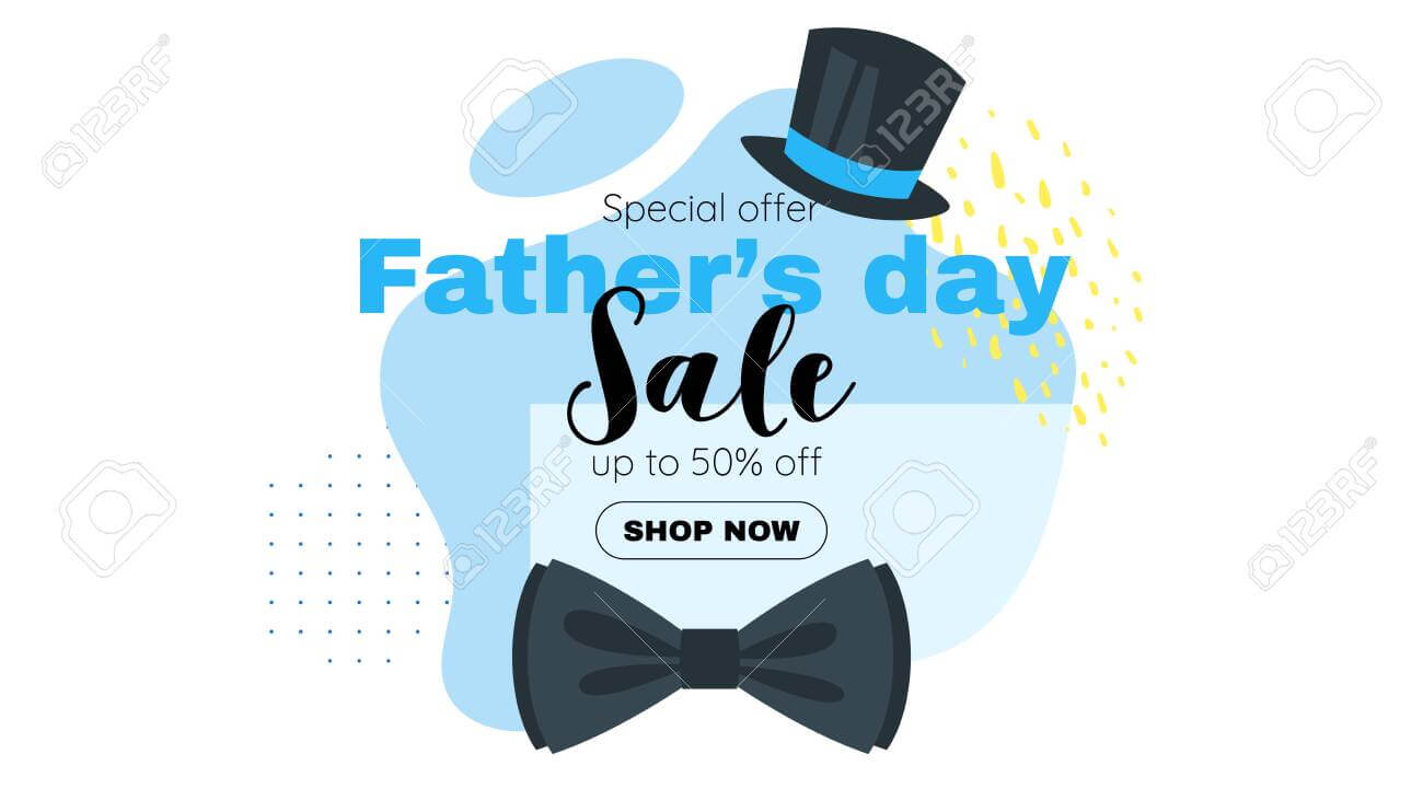 Father Day Sale Banner Template With Bow Tie And Top Hat. Vector.. intended for Tie Banner Template