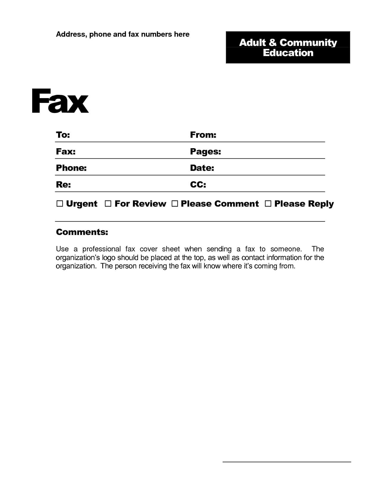 Fax Template Word 2010 - Free Download With Fax Template Word 2010