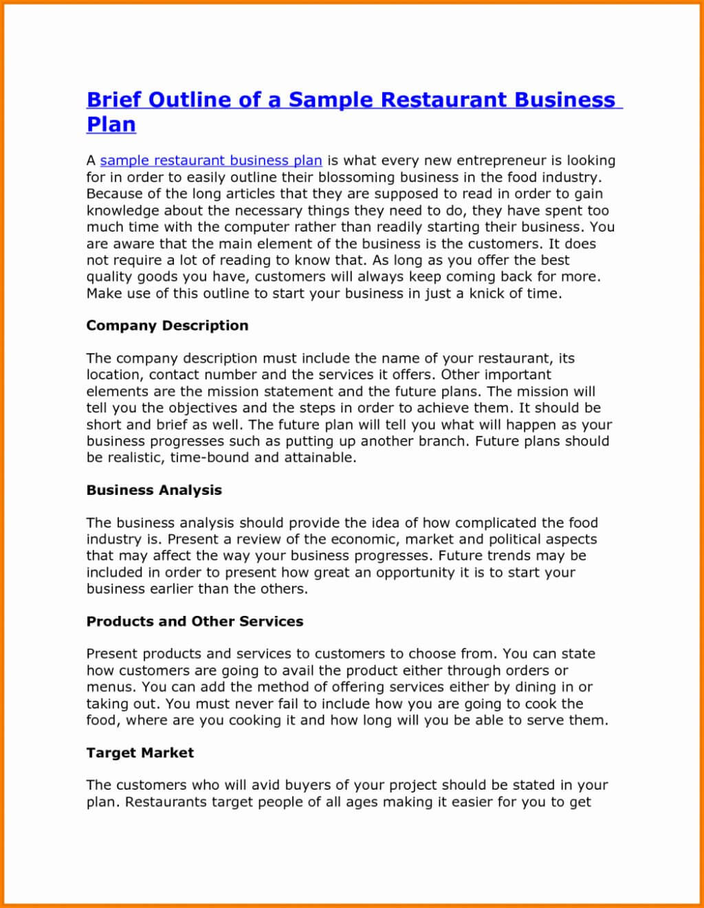Feasibility Study For Restaurant Business Pdf Plan Swot in Company Analysis Report Template