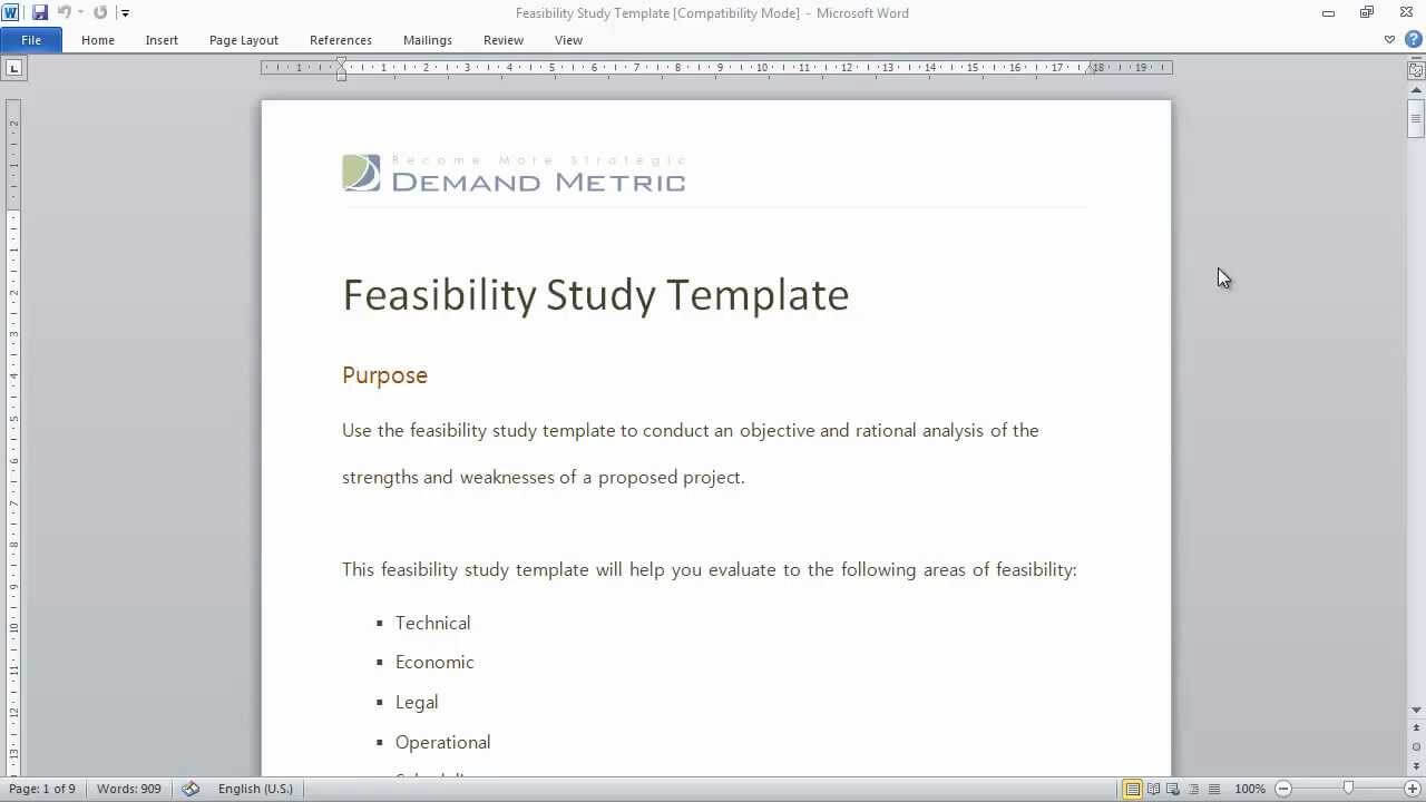 Feasibility Study Template Throughout Technical Feasibility Report Template