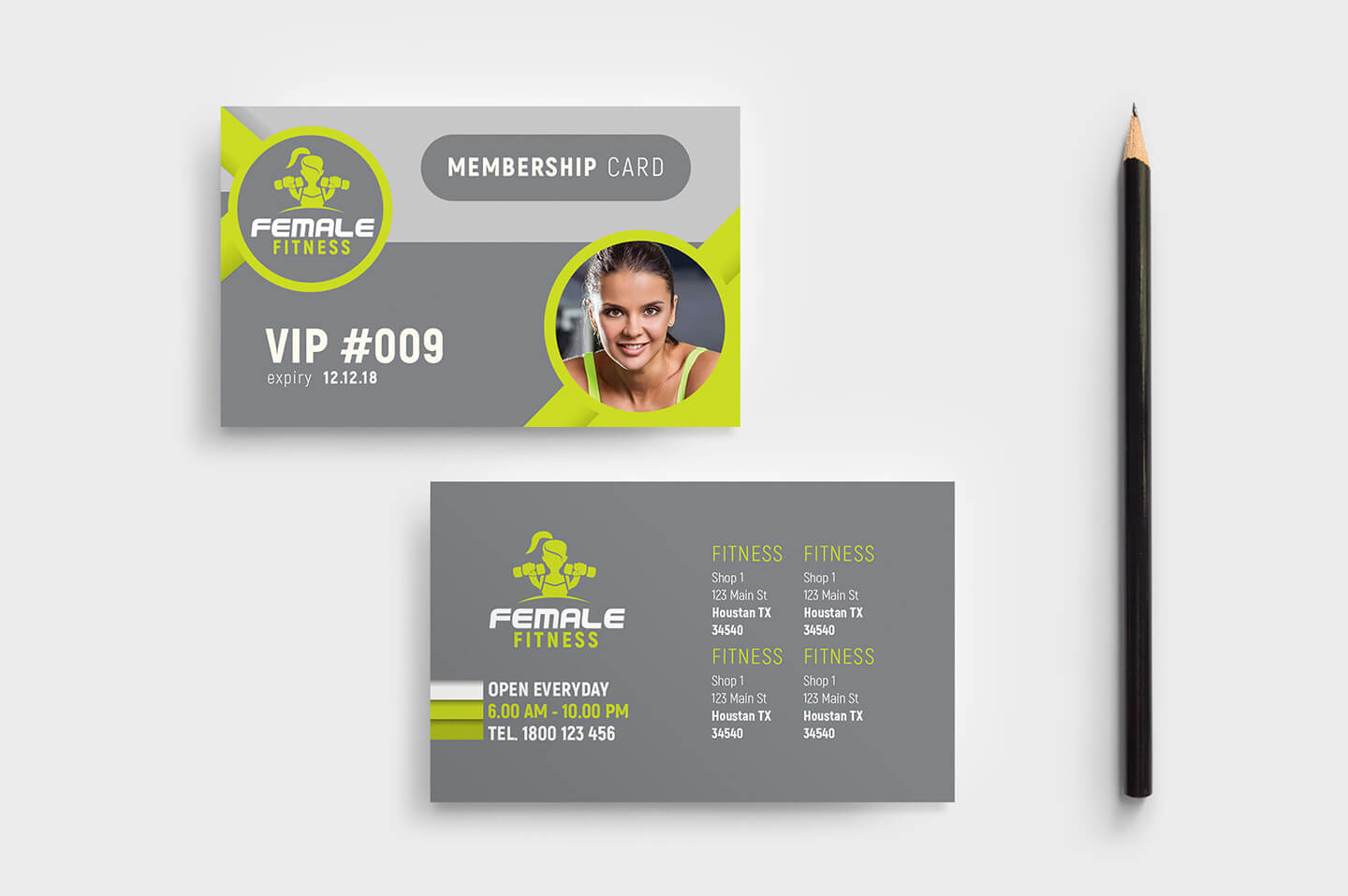 Female Fitness Membership Card Template In Psd, Ai & Vector Regarding Gym Membership Card Template