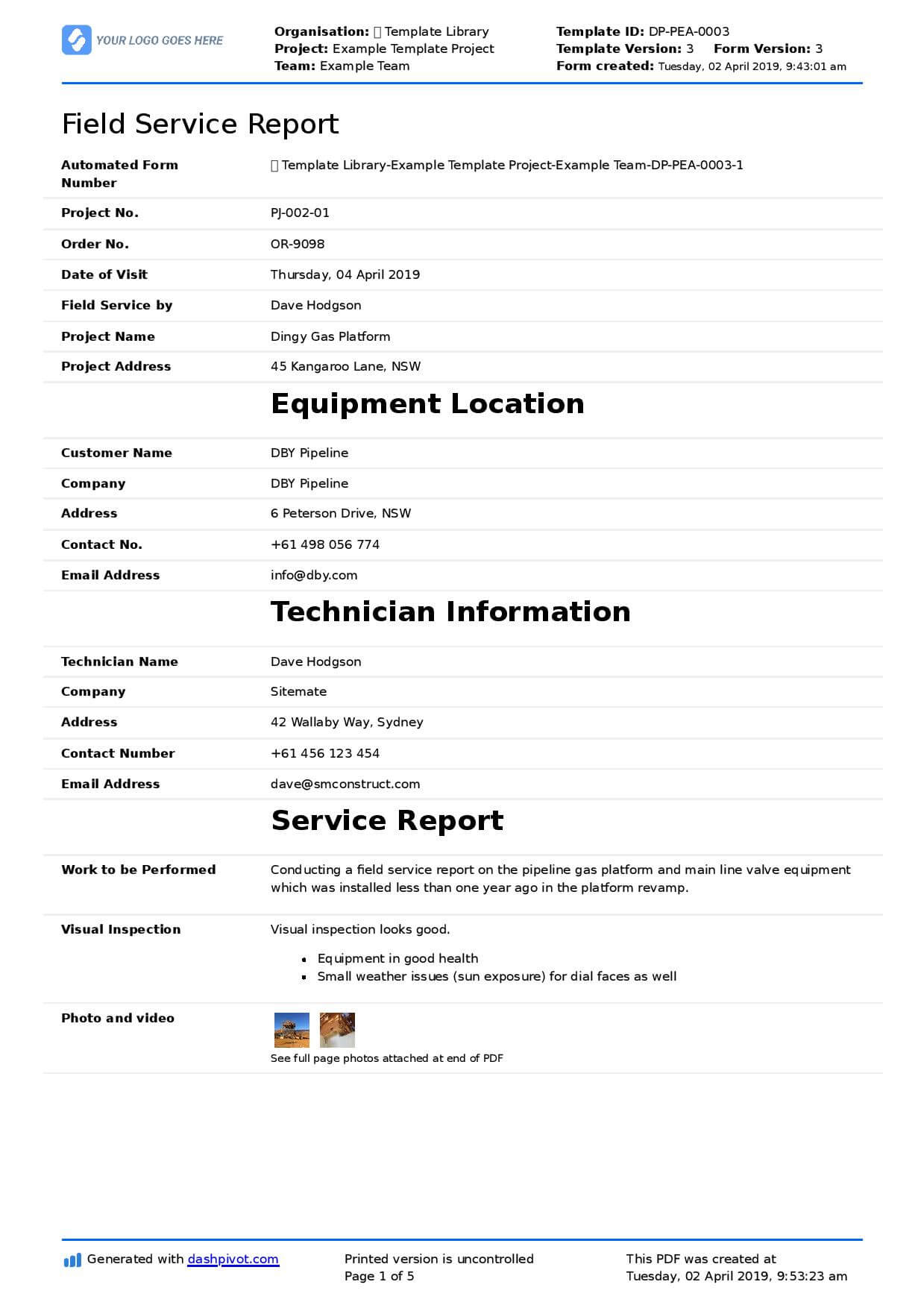 Field Service Report Template (Better Format Than Word Intended For Technical Service Report Template