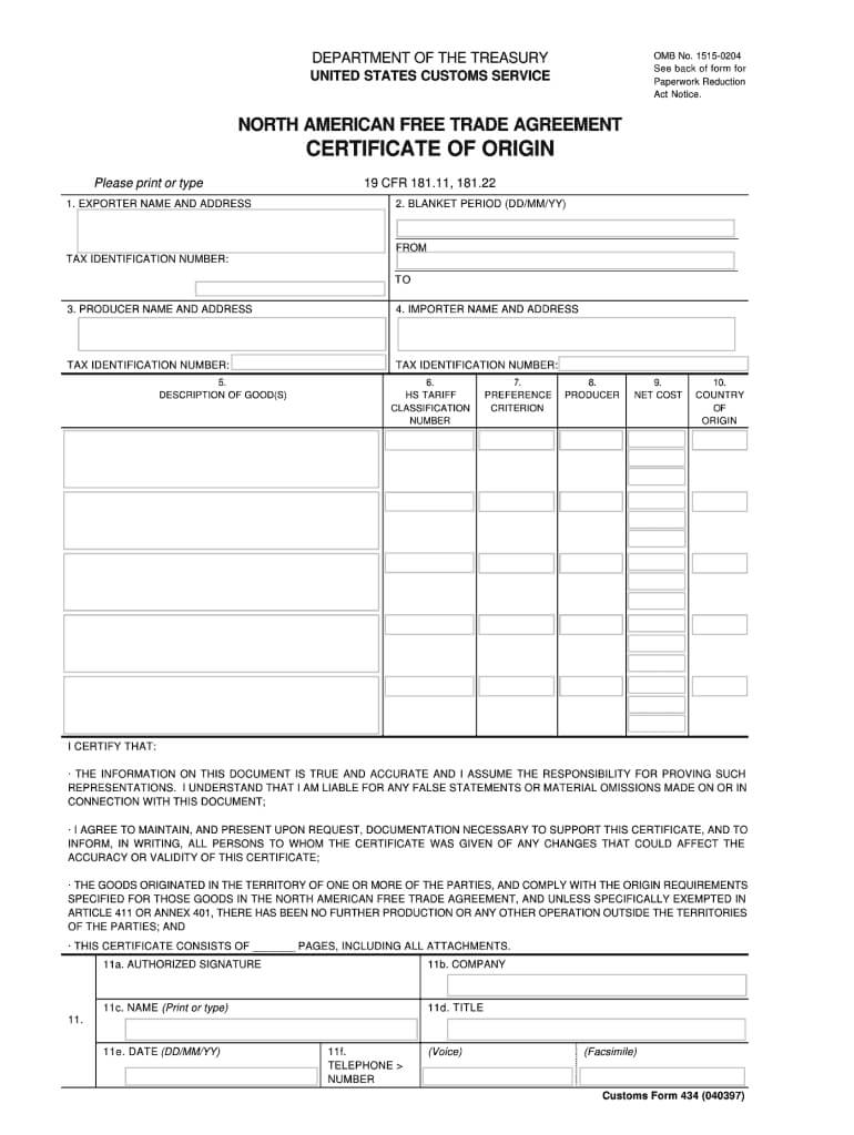 Fillable Nafta Certificate Of Origin - Fill Online With Regard To Nafta Certificate Template