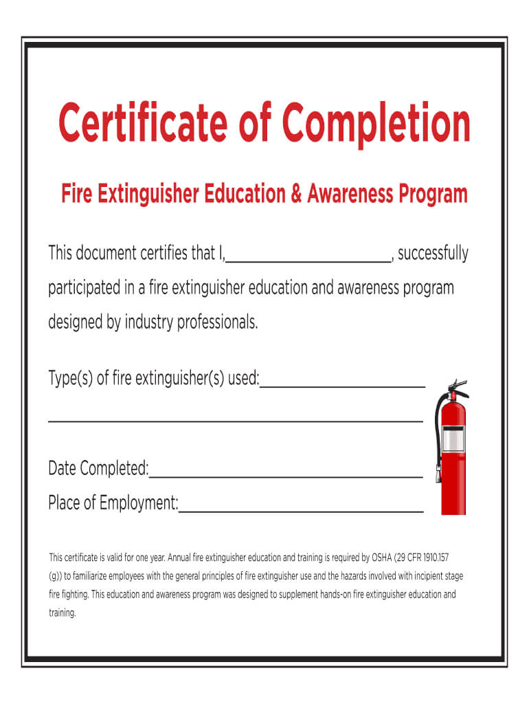 Fillable Online Certificate Of Completion - Fire Regarding Fire Extinguisher Certificate Template