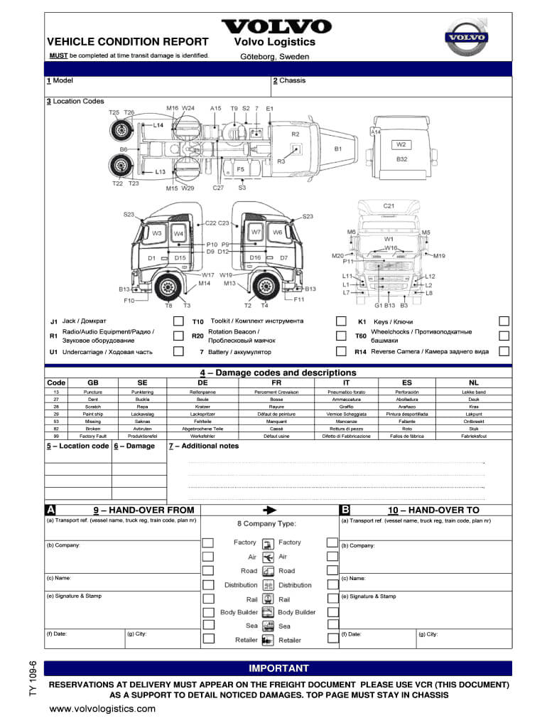 Fillable Online Vehicle Condition Report Volvo Logistics A B for Truck Condition Report Template