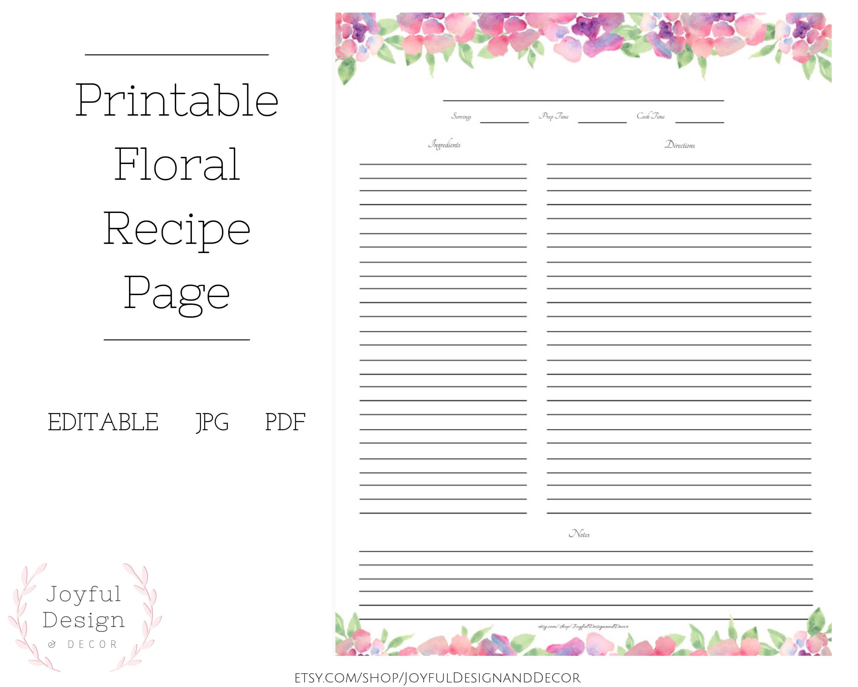 Fillable Recipe Page Floral Recipe Page Blank Recipe Template Recipe  Organization Recipe Storage Ideas Full Page Recipe Card Recipe Cards in Fillable Recipe Card Template
