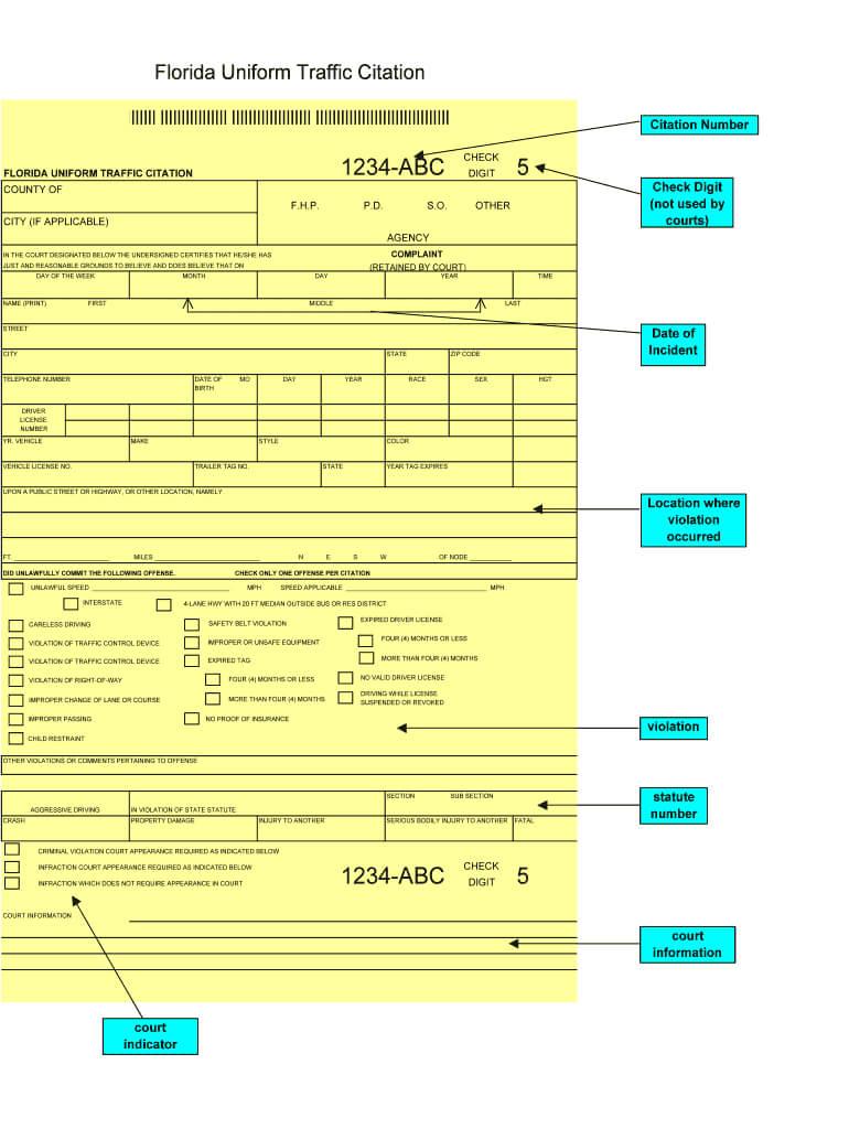 Fillable Traffic Citations - Fill Online, Printable regarding Blank Speeding Ticket Template