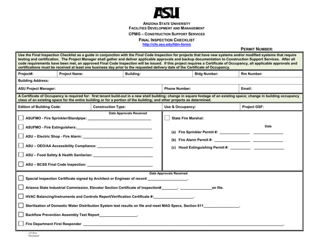 Final Inspection Checklist With Regard To Certificate Of Inspection Template