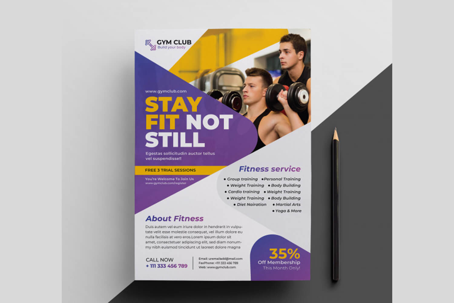 Fintess Flye Template | Gym Flyer Template | Fitness Poster in Membership Brochure Template