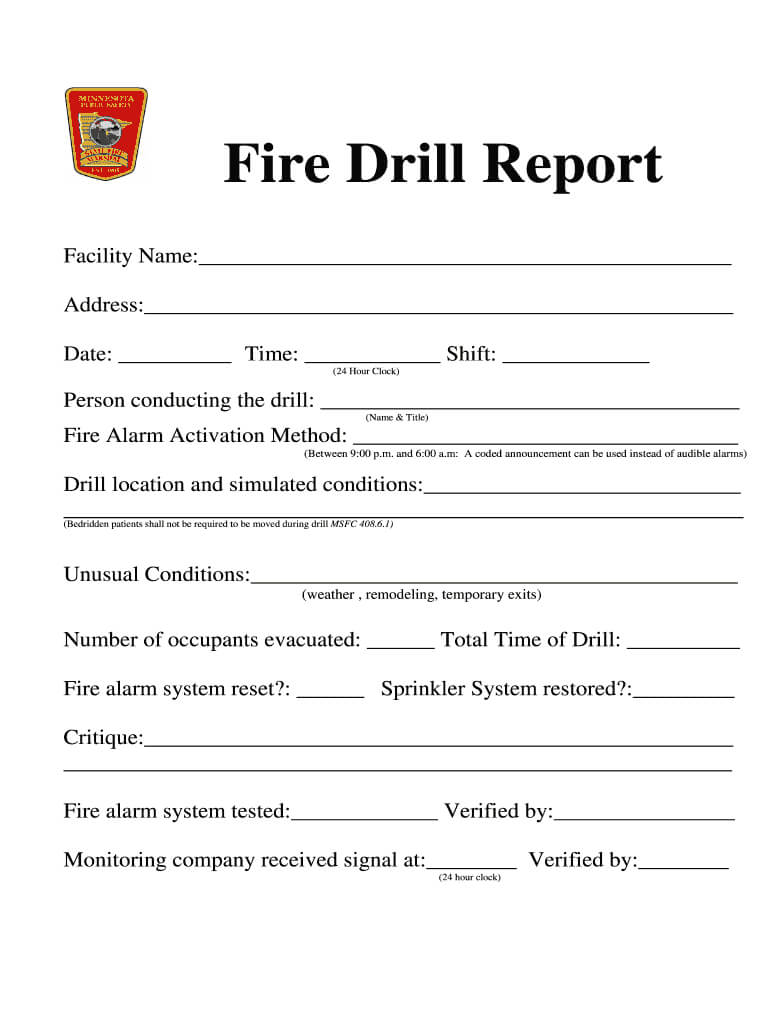 Fire Drill Report Template - Fill Online, Printable Throughout Fire Evacuation Drill Report Template