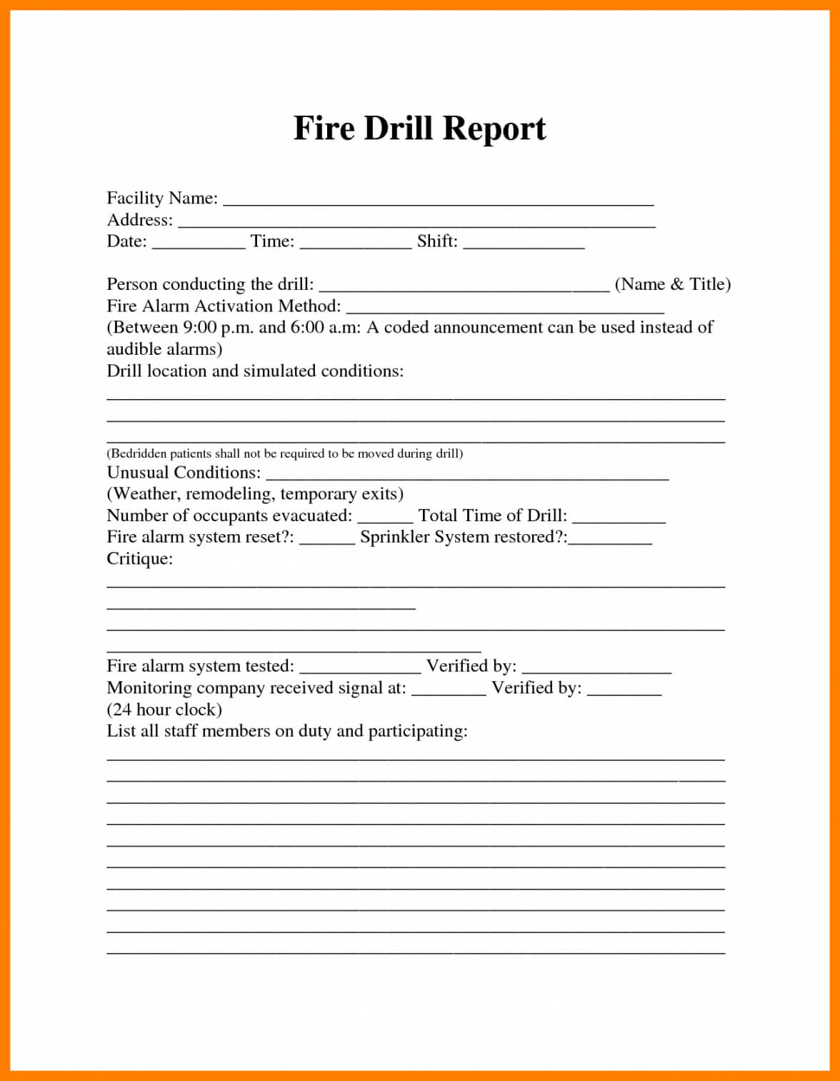 Fire Drill Report Template Throughout Emergency Drill Report Template