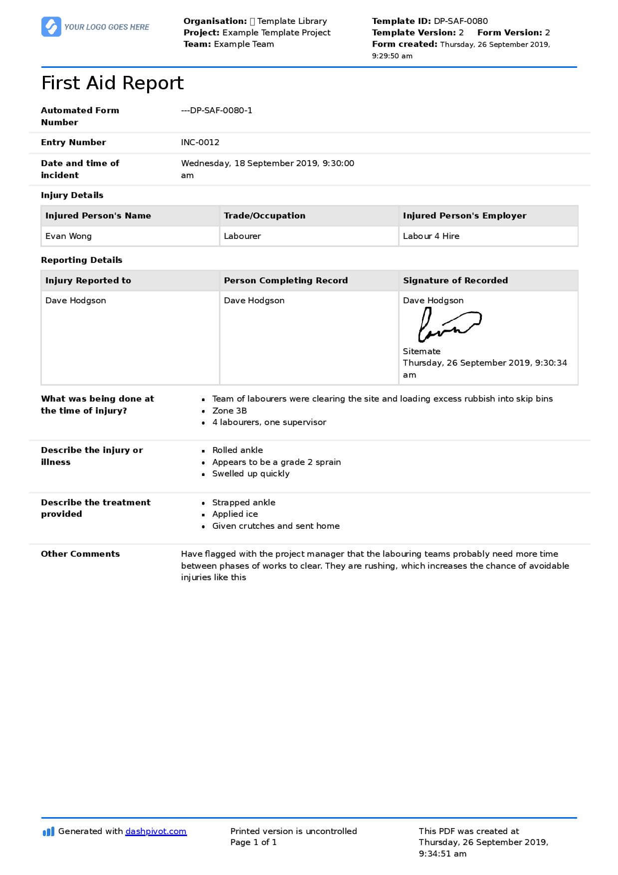 First Aid Report Form Template (Free To Use, Better Than Pdf) With Regard To First Aid Incident Report Form Template