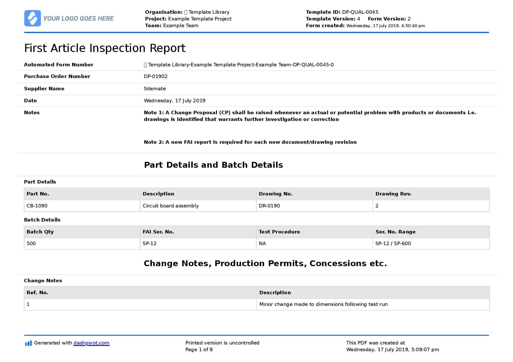 First Article Inspection Form Template: Free & Editable pertaining to Engineering Inspection Report Template