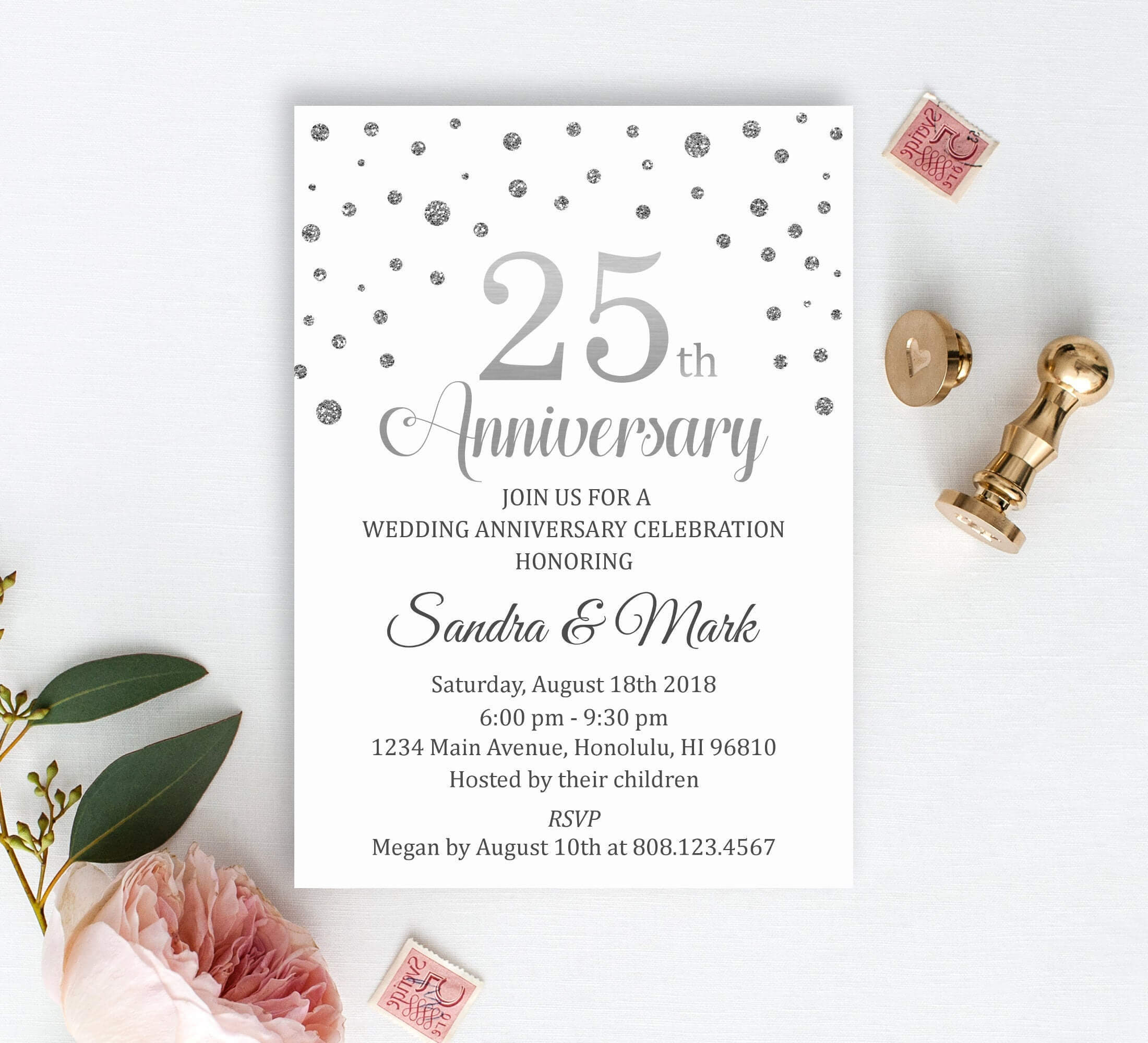 First Wedding Anniversary Invitation Cards 1St Marriage Card inside Celebrate It Templates Place Cards